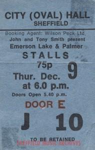 ELP Sheffield City Hall 1971 ticket