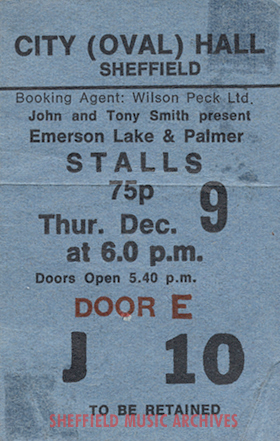 ELP Sheffield City Hall 1971 ticket