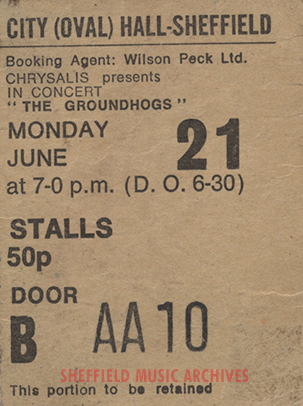 Groundhogs Sheffield City Hall 1971 ticket