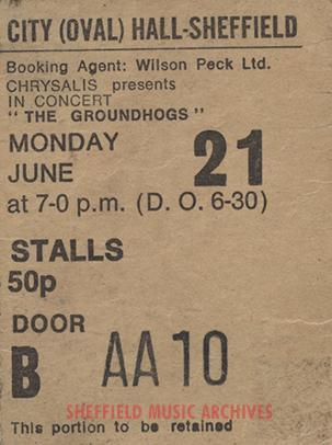 Groundhogs Sheffield City Hall 1971 ticket