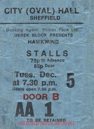 Hawkwind Sheffield City Hall 1972 ticket