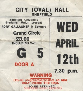 Rory Gallagher Sheffield City Hall 1978