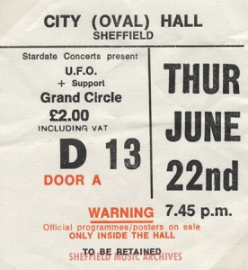 UFO Sheffield City Hall 1978 ticket