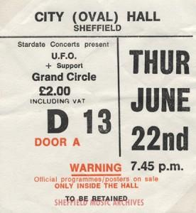 UFO Sheffield City Hall 1978 ticket